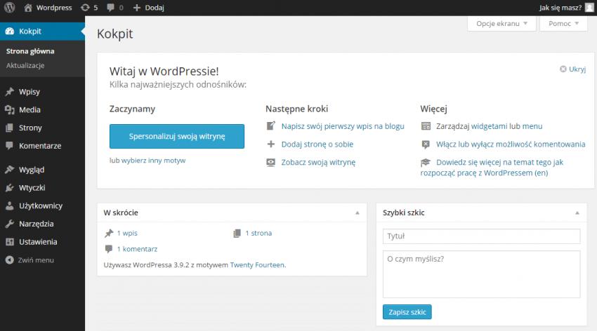 Wordpress strona główna.