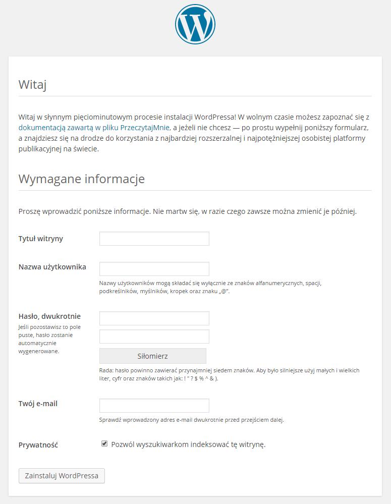 Formularz konfiguracji pierwszej strony wWordPressie.