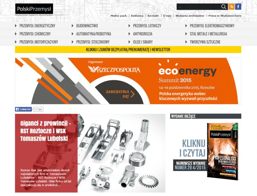 Zaimplementowany serwis internetowy magazynu Polski Przemysł dedykowany polskim przedsiębiorcom.